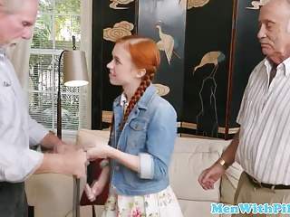 Ginger teen blows grandpa till cum in mouth